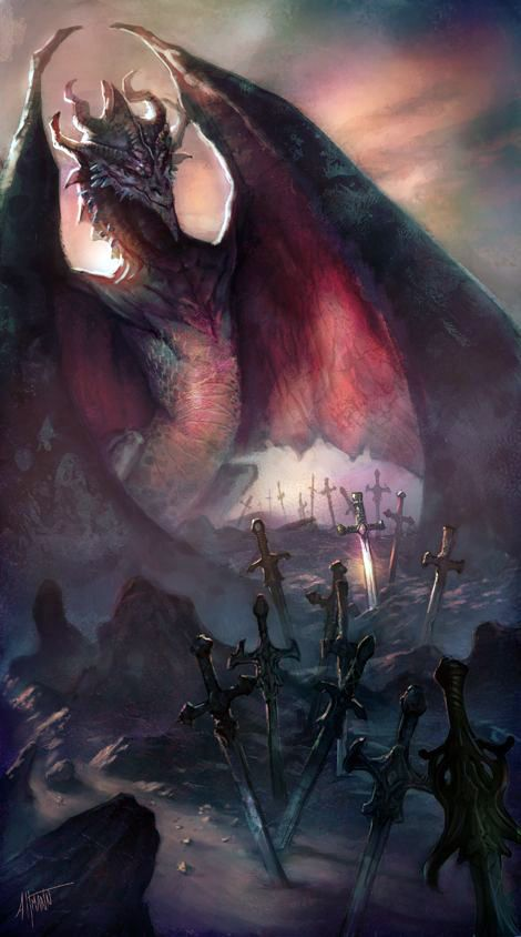 Many knights in the kingdom tried to say the dragon and not one succeeded, the closest Any had ever come was the one who left his sword between the dragon's wings.
