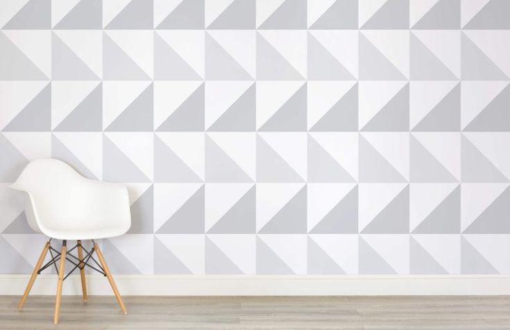 Grey Triangles Mural Wallpaper