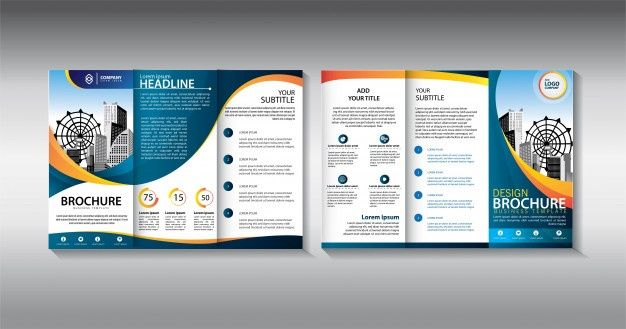 Blue Brochure Trifold Business Template Brosur