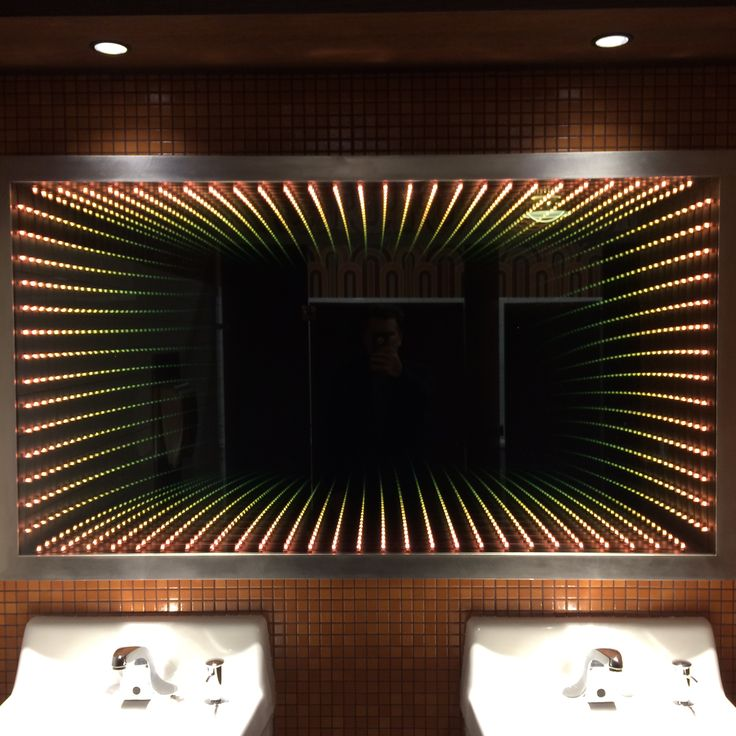 Bathroom Infinity Mirror designed and built by Industrial Luxury for Xan Creative.