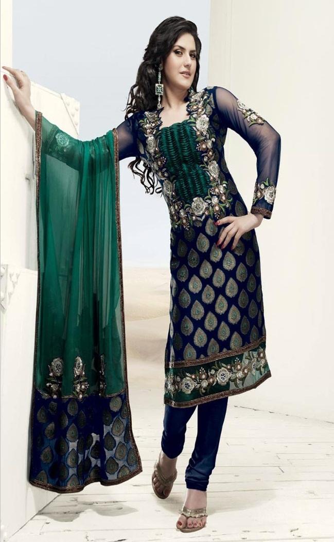 Navy Blue and Green Viscose Churidar Kameez With Dupatta @ $89.27 | Shop @ http://www.utsavfashion.com/store/sarees-large.aspx?icode=slkgy1218