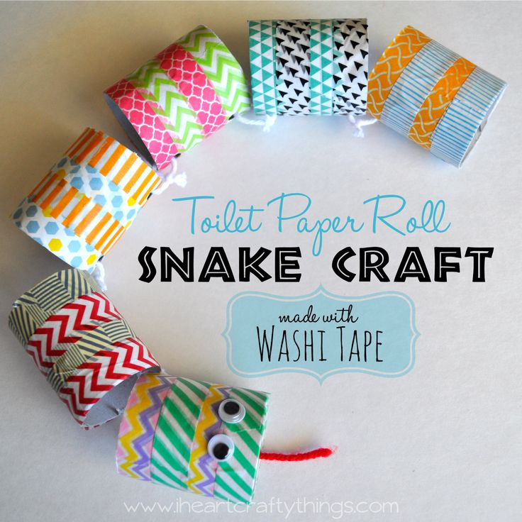 Toilet Paper Roll Snake Craft made with Washi Tape via www.iheartcraftythings.com