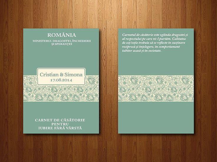 "Wedding invitations ideas/Idei invitatii de nunta originale. Invitație tip ""carnet de elev"" - exterior. (dimensiune A6 - 15 x 10 cm)."