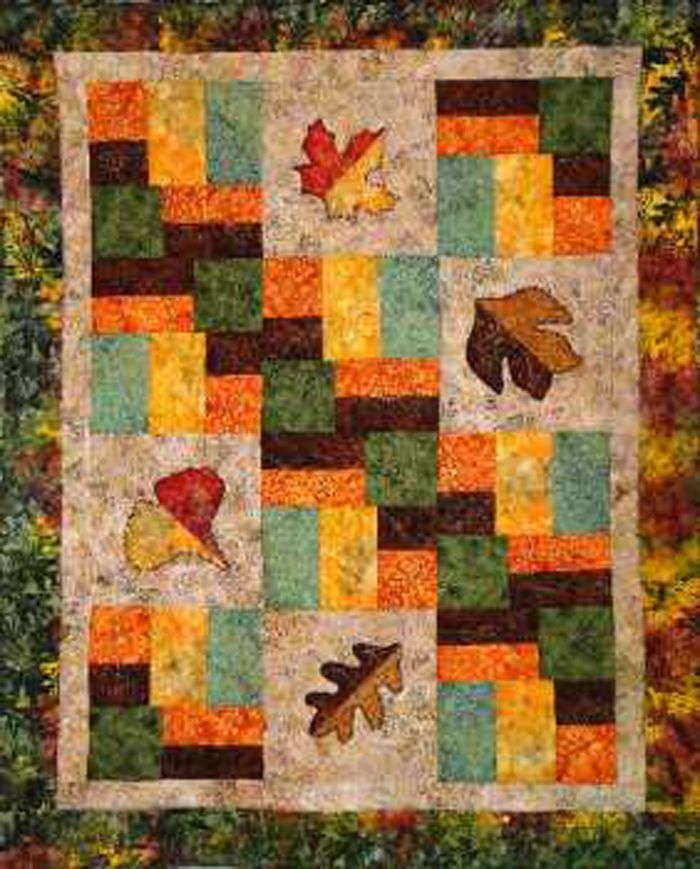 Leaf Medley Quilt Pattern CTG-122 (advanced beginner, lap and throw, twin, double/full, queen ...