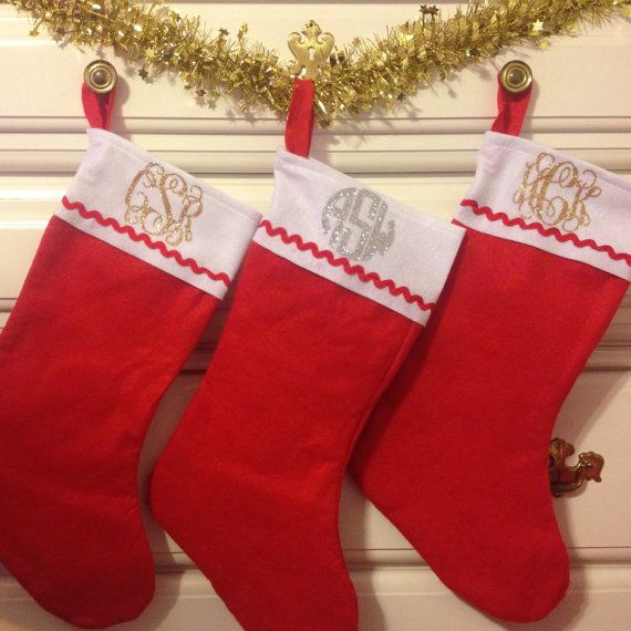 Glitter Monogrammed Stocking by TheBlueRaspberryShop on Etsy