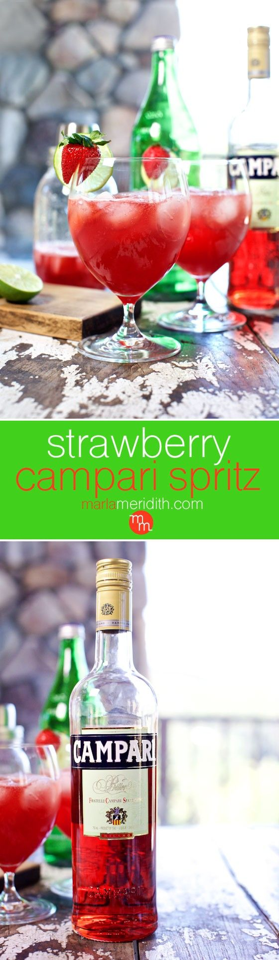 Strawberry Campari Spritz, a refreshing cocktail inspired by my trip to Italy. MarlaMeridith.com ( @marlameridith )