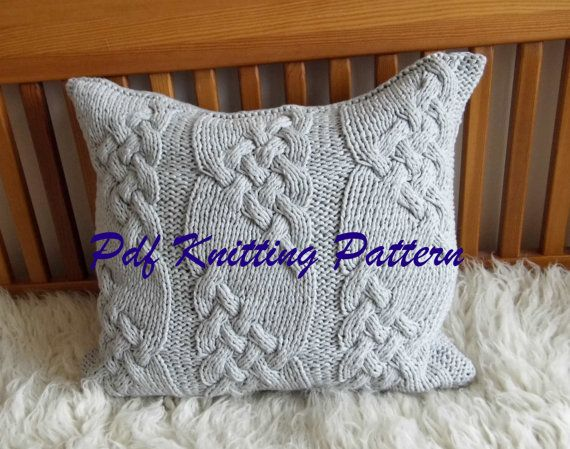 PDF KNITTING PATTERN Cable knit pillow cover No.1 20 x 20 by KnitJoys | Etsy