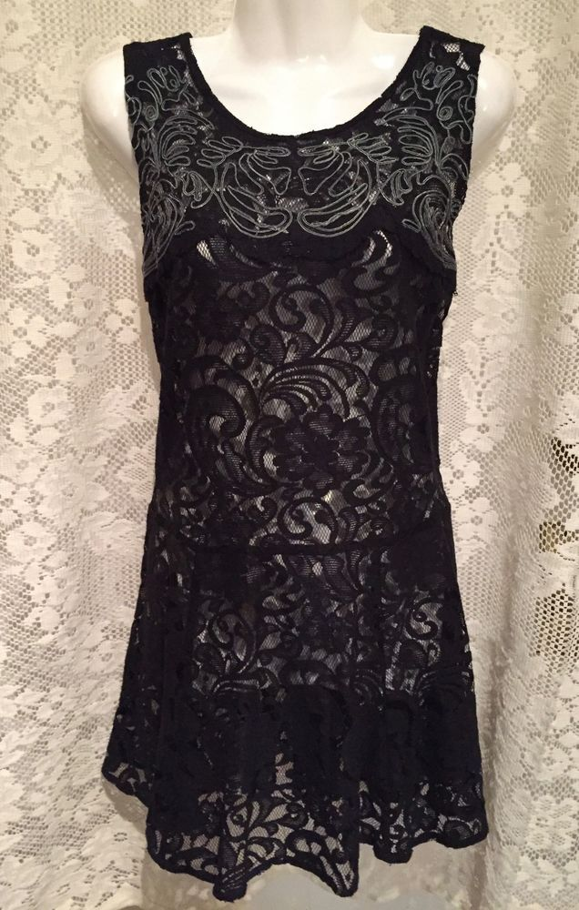 ea823647b6d94 Details about FREE PEOPLE Black Boho Sheer Embroidered Lace Short Dress 32  Bust XS X Small