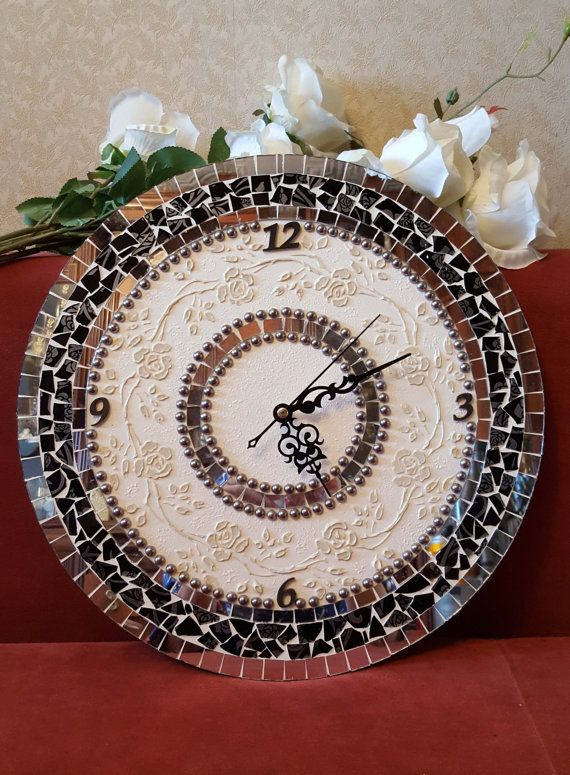 Wall/table clock mirror retro mosaics от HandmadeGiftsByOlga