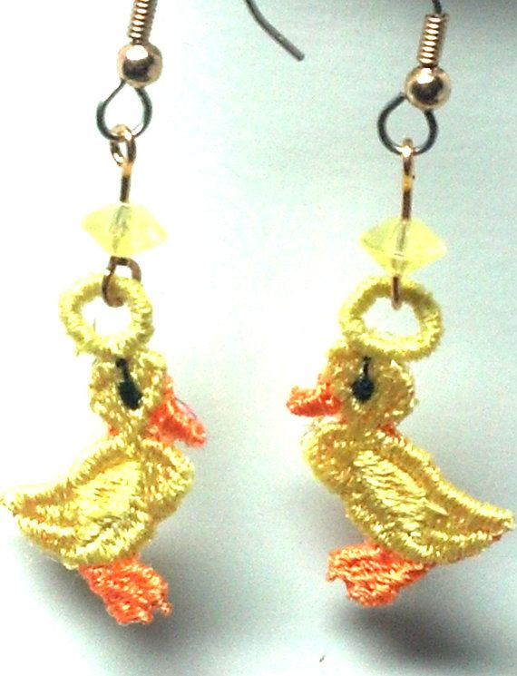 Yellow Duck Earrings by teresadelosh on Etsy