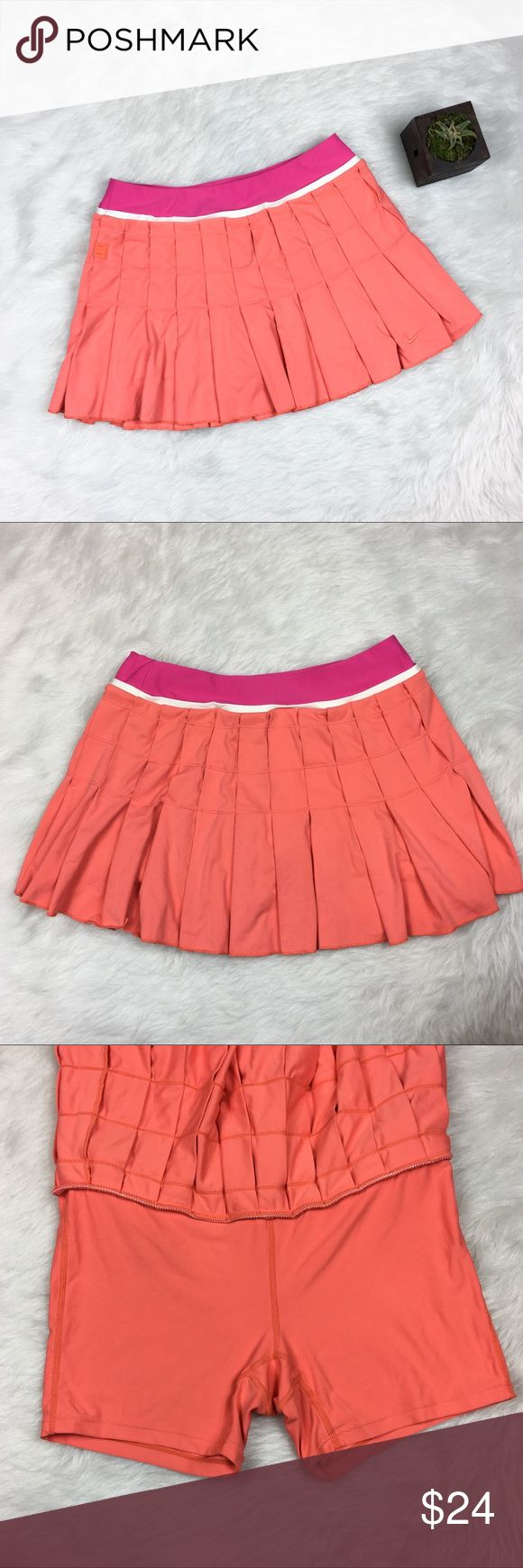 Nike Dry-Fit Tennis Skort Nike dry-fit tennis skort. Size small. It is 17' long with shorts underneath skirt. Skirt has a beautiful pleat to it. GUC with one small pen mark on the shorts as pictured and some wear. ❌No trades ❌ Modeling ❌No PayPal or off Posh transactions ❤️ I 💕Bundles ❤️Reasonable Offers PLEASE ❤️ Nike Skirts Mini