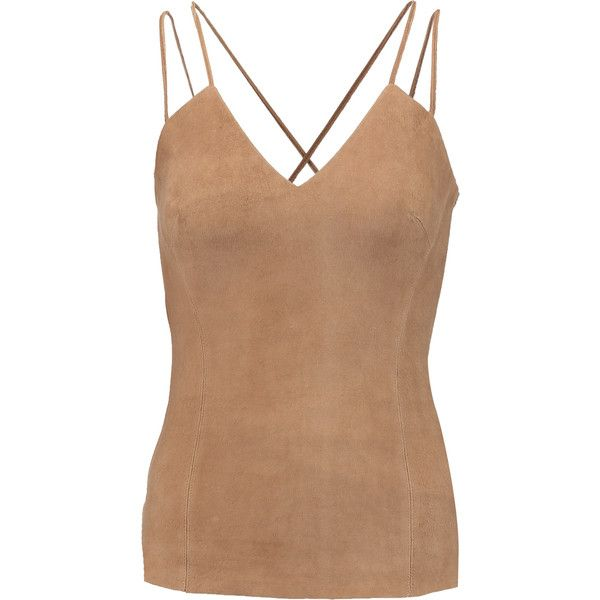 Bailey 44  Suede tank (155 CAD) ❤ liked on Polyvore featuring tops, camel, slimming tank top, stretch tank top, bailey 44 tops, beige tank top and slimming tops