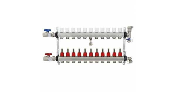 The 11 branch stainless steel PEX manifold is specifically designed to run large area-based radiant heating systems. It is made with stainless steel to ensure long lasting durability, and can run a multitude of radiant heating applications at once. This device is fully equipped with half inch PEX ad