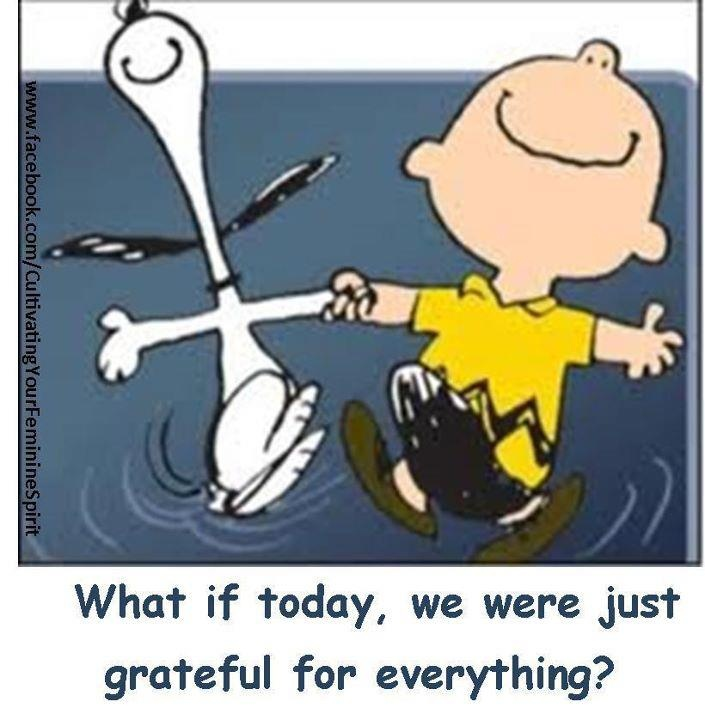 ON BEING GRATEFUL  Aww, I <3 Charlie Brown & Snoopy! I'm grateful for all the laughs they've given me!