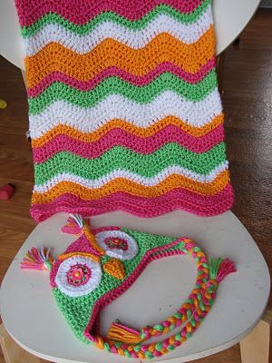 Crocheted Owl Hat and Blanket