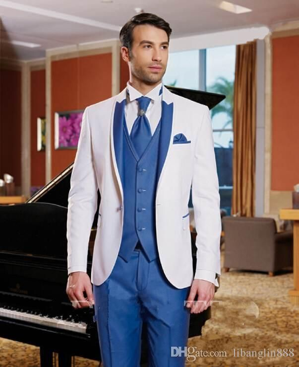 2015 Fall Groom Tuxedos For Men Tailcoat Notched Lapel Men'S Suit Blue White Groomsman Wedding Suits Three Piece Plus Size Jacket+Pants+Tie Mens Suit Sale Mens Wedding Attire From Libanglin888, $81.7| Dhgate.Com