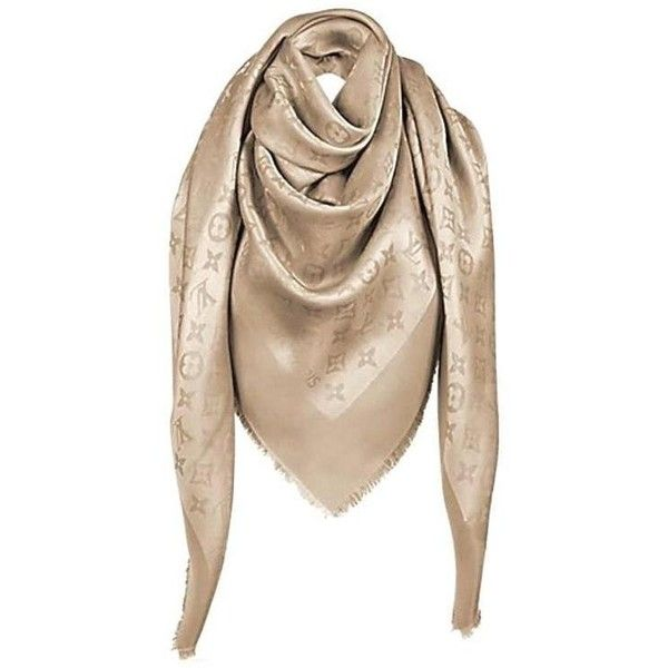 Preowned Louis Vuitton Monogram Shine Gold Scarf New ($585) ❤ liked on Polyvore featuring accessories, scarves, gold, monogrammed scarves, gold scarves, monogram shawl, patterned scarves and woven scarves