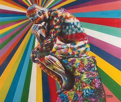 EDUARDO KOBRA- Pensador - Tinta spray sobre tela - 153 x 180 cm - a.c.i.d./a.n.v. - Acompanha Documento de Autenticidade emitido pelo Estúdio Kobra