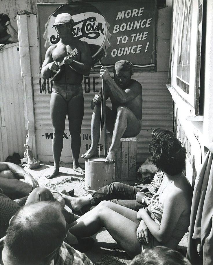 Man with Ukulele, Muscle Beach, Santa Monica, 1950s. Photo by George Tate.