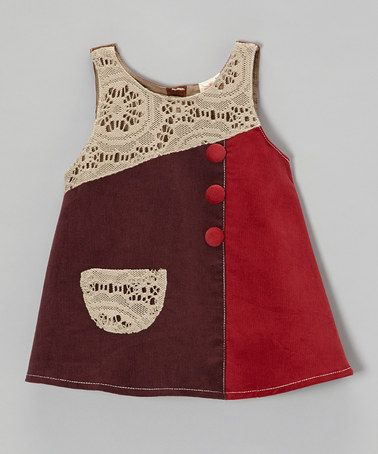 Take a look at this Purple & Red Lace Patch Corduroy Dress - Toddler & Girls by the Silly Sissy on #zulily today!