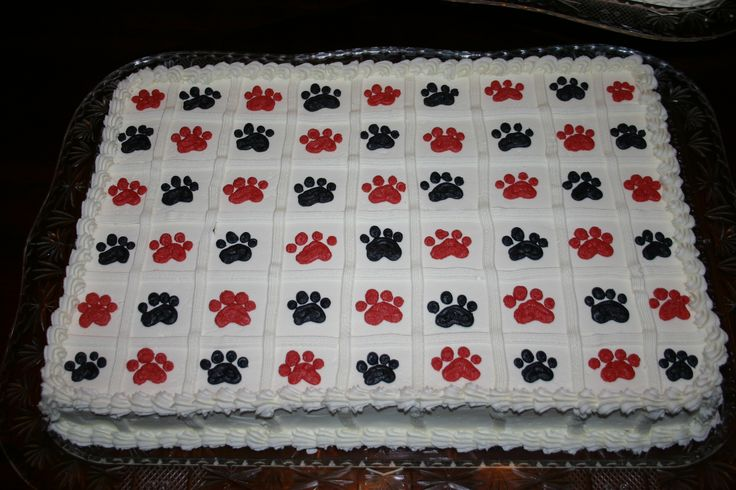 Paw Print Sheet Cake Pre Cut Sheet Cake Black And Red