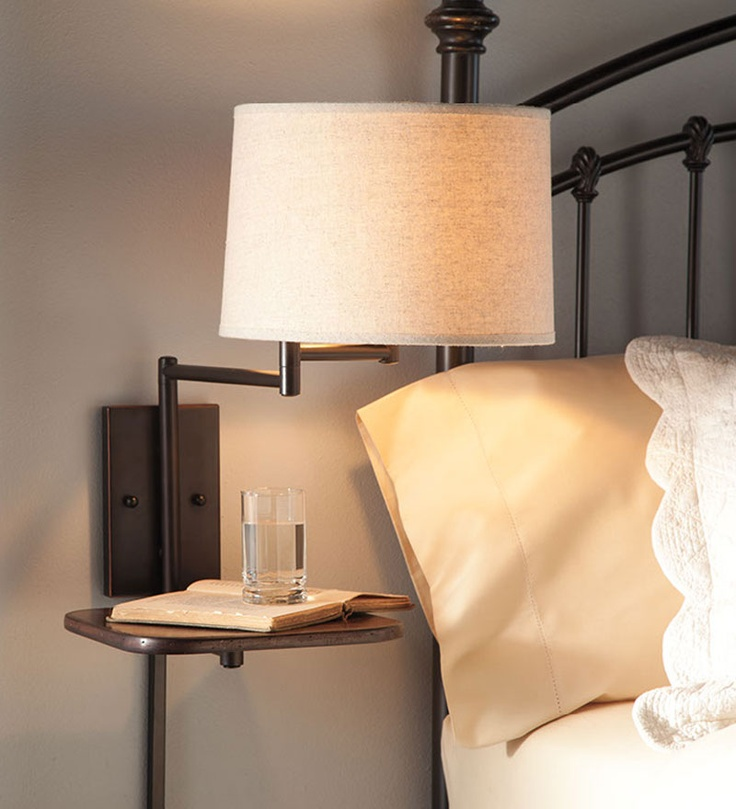 Space Saving Swing Arm Wall Mount Lamp With Table