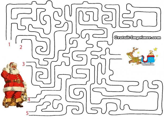 """Cliquez sur l'image pour télécharger le jeu : """"JEU DE LABYRINTHE GRATUIT A IMPRIMER PERE NOEL ET TRAINEAU"""""""