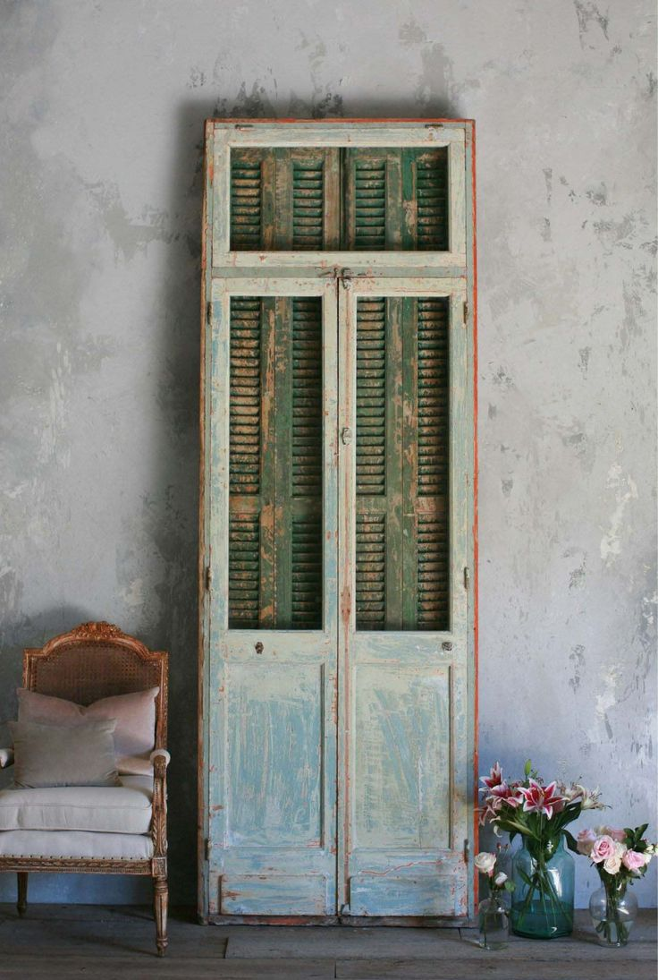 Vintage French Doors In Green With Shutters