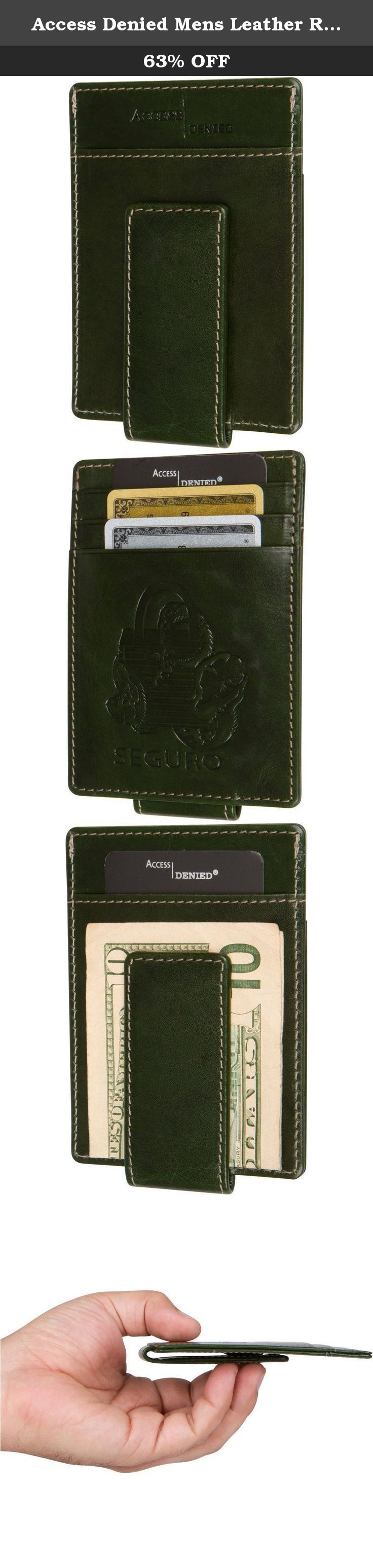Access Denied Mens Leather RFID Front Pocket Wallet Slim Money Clip Magnetic Minimalist Wallet (Deep Jade). This Minimalist Front Pocket RFID Blocking Magnetic Money Clip wallet is perfect for those who appreciate simple yet effective designs. Carry up to 4 Cards and easily access your cash. SEGURO by Access Denied Money Clip Front Pocket Wallet is made in a beautiful leather that is 100% Genuine, and stained with a glossy finish giving it a luxurious look and feel. With its minimalist...