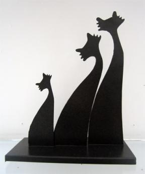 Escultura Trio de Gatos 35 cm w x 27 cm h $60.000