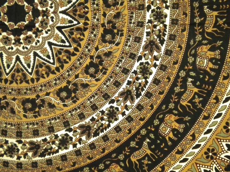 85 Quot X100 Quot Indian Mandala Tapestry Fabric Beautiful Black