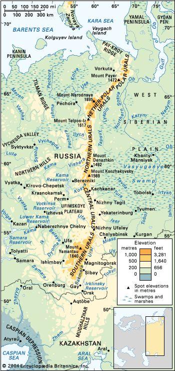 Ural Mountains Map. Ural Mountains separates Europe and Asia.