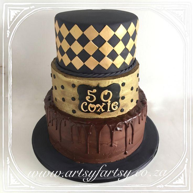 50th Metallic Cake #50thcake #metalliccake