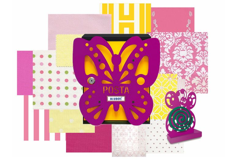 Per le più romantiche, cassetta postale e porta zampirone farfalla!  #farfalle #fucsia #giallo #colors