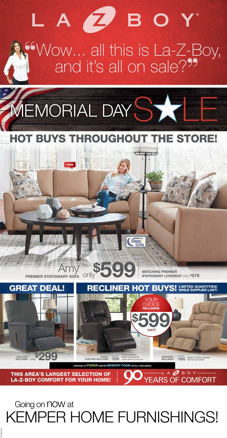 Memorial Day Sales Are In Full Swing Here At Kemper Home Furnishings! Shop  Early,