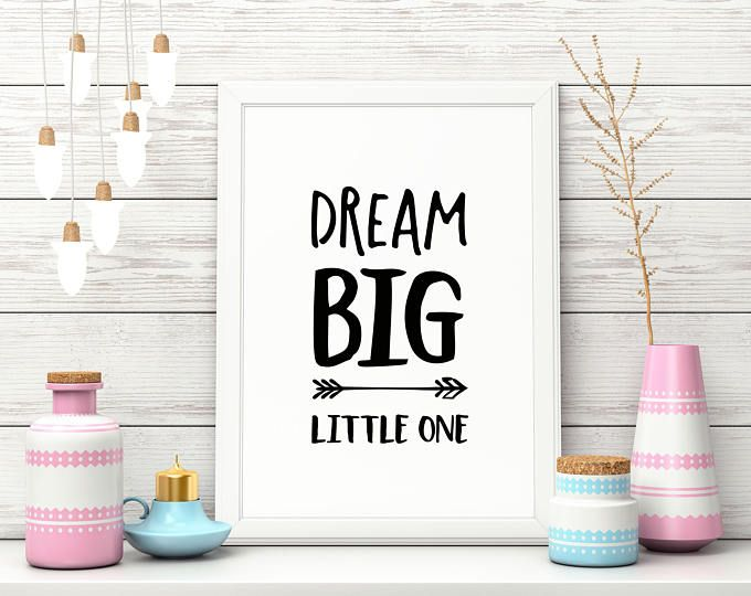 "Nursery Art Print, ""Dream Big Little One"", Cute Wall Decor, Pink, Blue"
