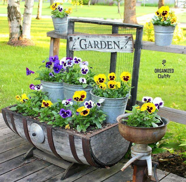 Piantare viole del pensiero sul ponte Junk Garden Style #pansies #galvanized #oldsignsten …