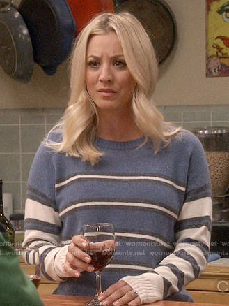 Penny's blue mixed stripe sweater on The Big Bang Theory.  Outfit Details: https://wornontv.net/84351/ #TheBigBangTheory