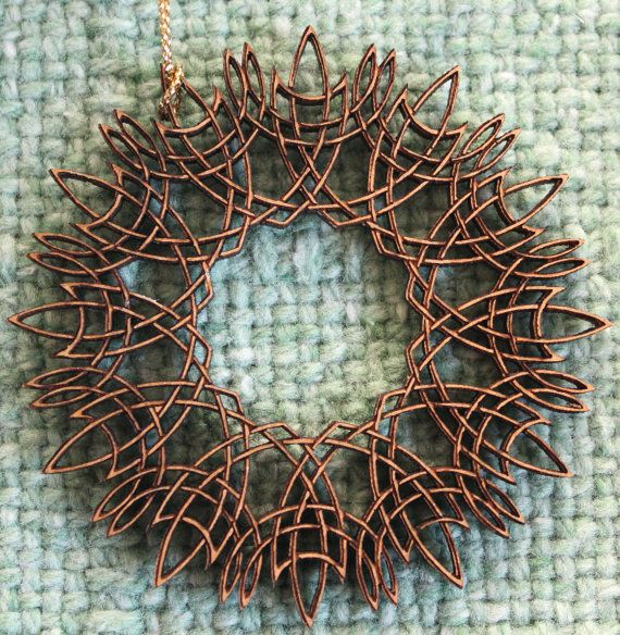 Wood Christmas Ornament  Intricate Holiday Wreath  by PixmaTales, $35.00