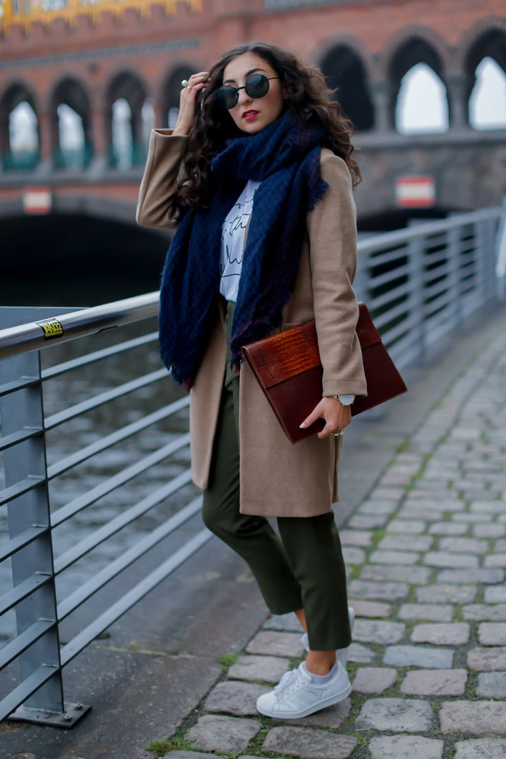 khaki pants and camel coat edited paperback fall outfit marksspencers coat uni look university sneakers girl
