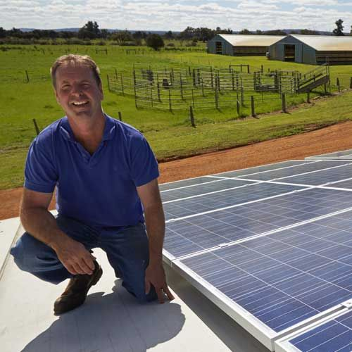 """""""We are a bit remote in Muchea, so I was anticipating the install would take a while. They did a great job and actually managed to squeeze a few extra panels onto the generator to make the inverter work at maximum efficiency. The more power generated, the more money I save. Best thing is, it has not cost me a cent."""" - Tony Young - Catambo Syndicate"""