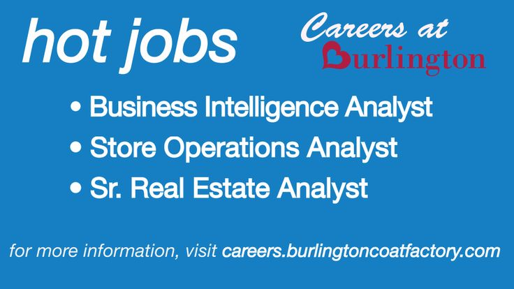 We're hiring! To learn more about our career opportunities, visit our career site today! Your career is waiting here! http://careers.burlingtoncoatfactory.com/why-choose-a-career-at-burlington.asp ~Careers at Burlington