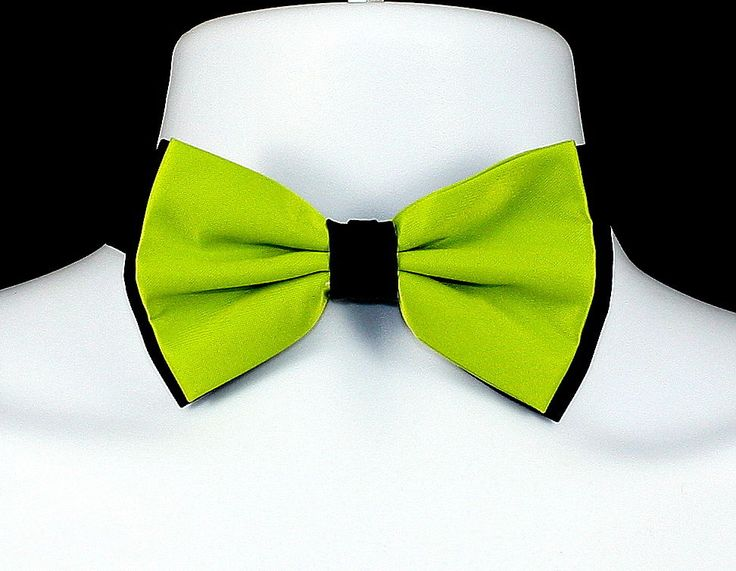 New Lime & Black Mens Bow Tie Adjust Tuxedo Prom Wedding Fashion Formal Bowtie #TiesJustForYou #NeckTie