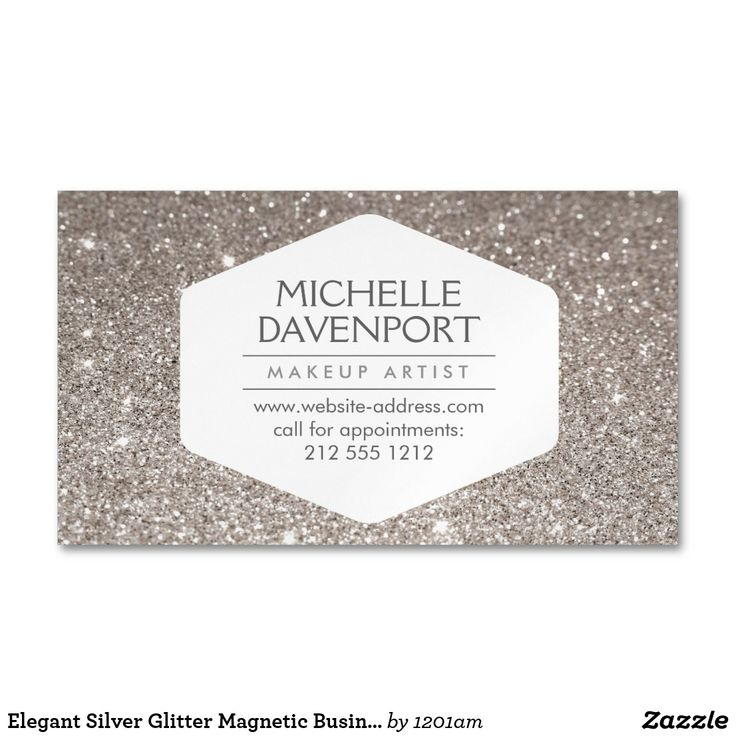 Elegant Silver Glitter Magnetic Business Card Coordinates with the ELEGANT WHITE EMBLEM ON SILVER GLITTER BACKGROUND Business Card Template by 1201AM. An elegant and modern white hexagon badge stylishly holds your name or business name while surrounded by a faux glittery pink and gold background. Use these magnetic business cards for giveaways to your clients. Your contact info is prominently displayed… a great reminder to call for appointments! © 1201AM CREATIVE
