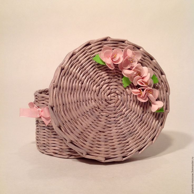 Купить Шкатулка из бумажной лозы Сакура - серый, розовый, нежно-розовый, сакура, ветка сакуры
