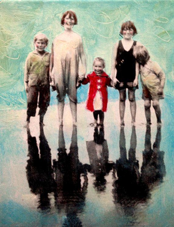Reflecting vintage children mixed media portrait by MaudstarrArt, $50.00