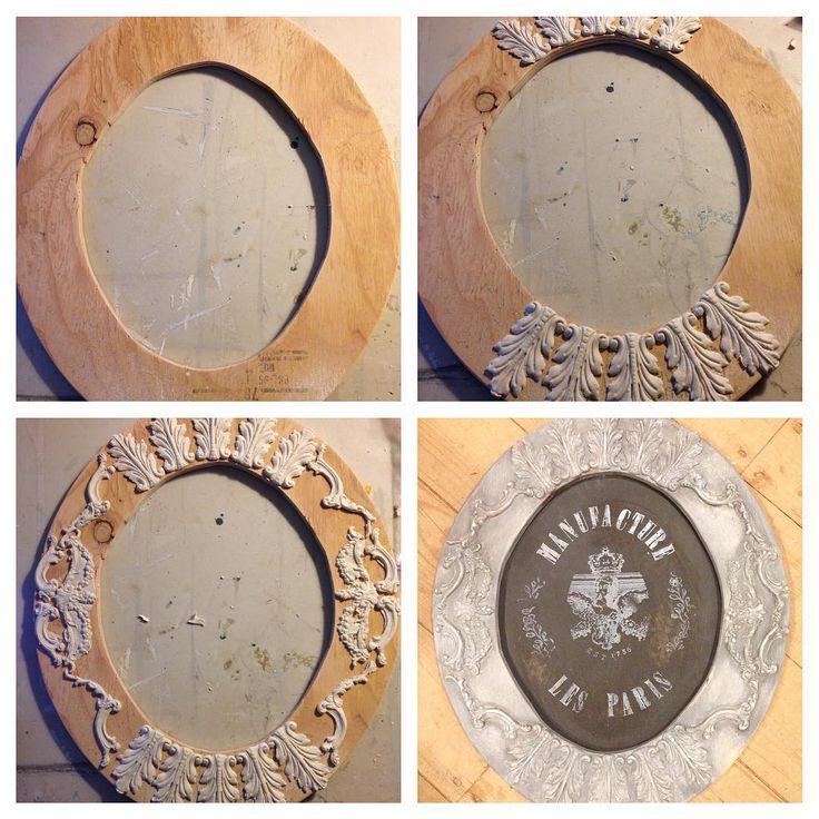 """""""This elegant rustic french styled wall hanging was made from a simple plywood oval with Iron orchid design by Prima decor moulds and paper clay, you can…"""""""