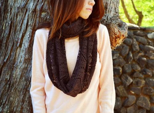 Crochet infinity scarves.