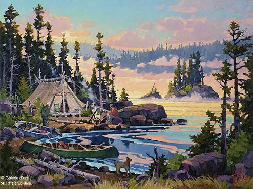 St-Gilles, 'Campement, Rivière Rupert, Qc.', 30'' x 40'' | Galerie d'art - Au P'tit Bonheur - Art Gallery