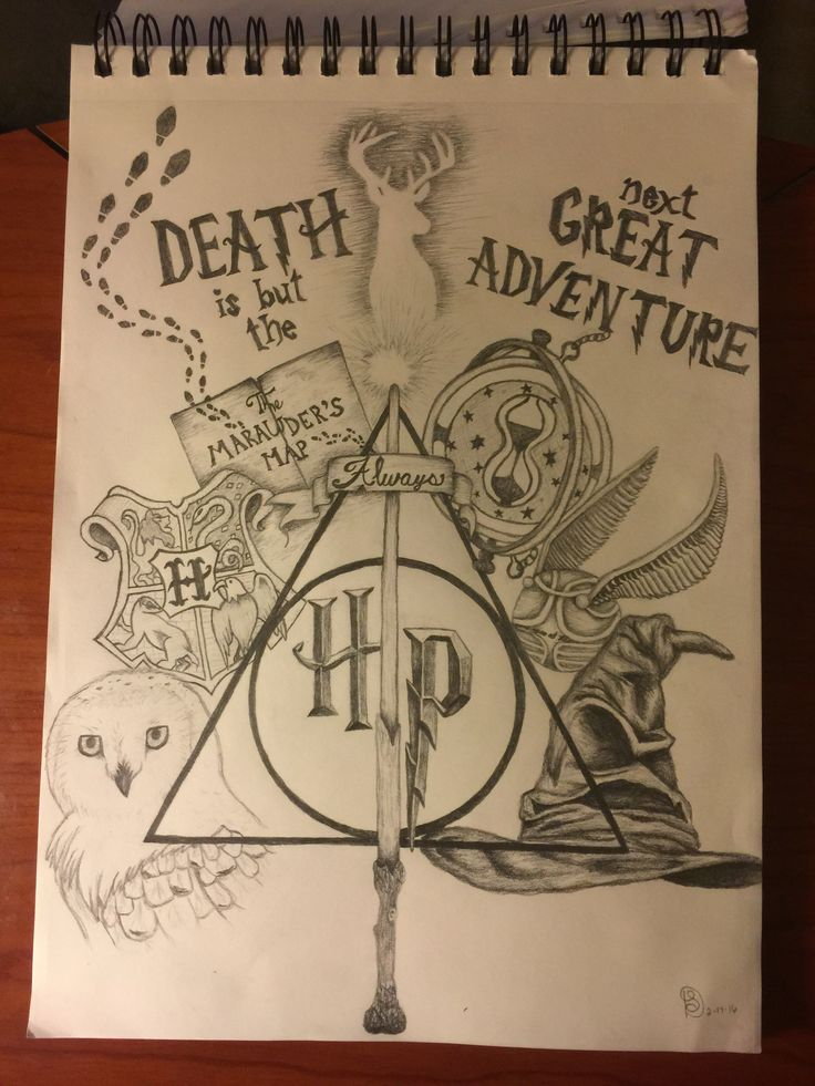 Harry Potter collage drawing                                                                                                                                                     Mais